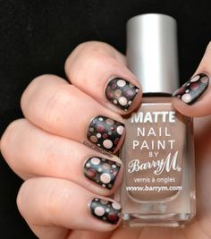 Emma's Little Corner: Barry M Matte Nail Polish in Vanilla and Espresso plus a dotticure.
