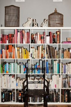 Better pic of the color coded bookshelf.