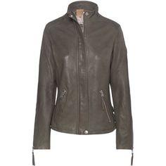 TRUE RELIGION Leather Funnel Neck Military Green // Biker leather jacket