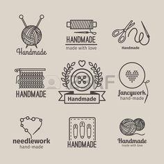 Hecho a mano la línea Conjunto de la insignia de la vendimia. tarjetas de retro hechos a mano o etiquetas de esquema hechos a mano. Prendas de punto y costura símbolos. ilustración vectorial