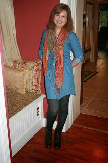 """""""Fashion Over Fifty: How to Wear a Chambray Dress."""" Thanks Amy for featuring our """"Lindy"""" by Sporto lace-up boots!"""