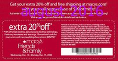Free Printable Coupons: Macy's Coupons