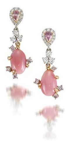 A pair of conch pearl, coloured diamond and diamond pendent earrings Each pear-shaped purplish pink diamond, weighing 0.13 and 0.10 carats, within brilliant-cut diamond surround, suspending a conch pearl decorated with brilliant-cut diamonds of white and pink hue, mounted in 18k white and pink gold.