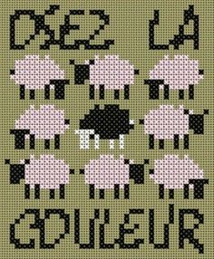 mouton - sheep - point de croix - cross stitch - Blog : http://broderiemimie44.canalblog.com/