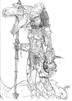 I know, I know, another female predator. As most can guess I love predators. This is a concept of a female hunting some raptors. Aliens, Adult Coloring Book Pages, Coloring Books, Female Yautja, Anime Alien, Star Wars Commando, Predator Cosplay, Female Monster, Predator Alien