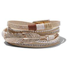 Open Cuff Bracelet / Feather-Charm Wrap Bracelet