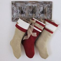 Burlap Christmas Stocking by TurnbowDesigns on Etsy