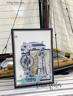 Come Sail Away – Stamping Bees Make Your Own Stencils, Laser Cut Paper, Nautical Cards, Birthday For Him, Stampin Up Catalog, Wedding Tattoos, Beautiful Handmade Cards, Sail Away, New Things To Learn