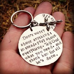 Hand Stamped Tag Keychain, personalized with whatever quote, name, etc. that you'd like on Etsy, $21.00
