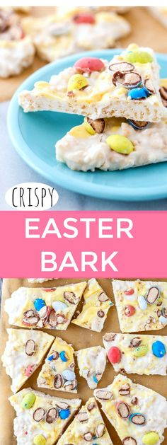 CRISPY Easter Candy Bark is unlike any other candy bark you've had! It has Rice Krispies in it, making it light and crispy. And addicting.