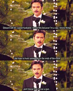 Charlie (Billy Burke) toasts the happy couple in The Twilight Saga - Breaking Dawn Part Funny! Funny Twilight Quotes, Movie Quotes, Funny Quotes, Funny Humor, Twilight Jokes, Funny Stuff, Humor Quotes, Couple Quotes, Quotes Quotes