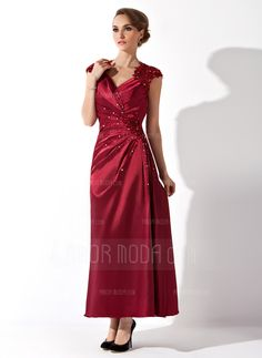A-Linie/Princess-Linie V-Ausschnitt Knöchellang Charmeuse Kleid für die Brautmutter mit Rüschen Spitze Perlen verziert (008013961)