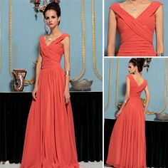 Red Sheath Column V Neck Ruching Chiffon Floor Length Eveing Dress
