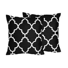 Give your decor an instant, affordable update with this pair of throw pillows covered in soft brushed microfiber. The lattice print in bold black and white adds a smart accent to your living room or bedroom design.