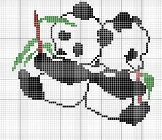 Grilles des ours et des pandas ! Cross Stitch For Kids, Cross Stitch Boards, Cross Stitch Baby, Cross Stitch Animals, Cross Stitching, Cross Stitch Embroidery, Embroidery Patterns, Cross Stitch Patterns, Hand Embroidery