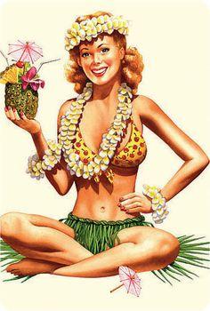 Hawaiian girls art | 10 Postcard Set, Hawaiian Pin-up Girls, HAWAII VINTAGE