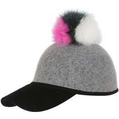 Charlotte Simone Sass Baseball Cap w/ Tricolor Fur Pom-Pom ($155) ❤ liked on Polyvore featuring accessories, hats, baseball cap hats, colorful baseball caps, baseball cap, colorful hats and fur pom pom hat