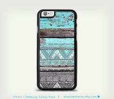 iPhone 4 iPhone 5 case iPhone 5s case iPhone 5c case iPhone 6 case Samsung Galaxy S4 / S5 - geometric pattern on blue wood print monogram