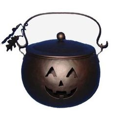 Halloween in Style: Feng Shui Decorating Tips and Products for a Safe Halloween: Large JackOLantern Kettle Candleholder: Solid Energy for Halloween