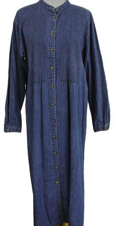 LL BEAN Long Comfy Chambray Denim Maxi Dress Pintuck Pleats Modest 0X 20 #LLBean #ShirtDress