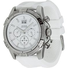 Guess Women's U16530G1 White Silicone Quartz Watch with White Dial GUESS. $127.36. Mineral Crystal. 38mm Case Diameter. 100 Meters / 330 Feet / 10 ATM Water Resistant. Quartz Movement