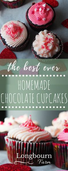 Best ever homemade chocolate cupcakes with whipped vanilla buttercream. Perfectly moist and fluffy, these cupcakes are a breeze to make and so delicious! Best Dessert Recipes, Cupcake Recipes, Fun Desserts, Cookie Recipes, Delicious Desserts, Cupcake Cakes, Yummy Food, Frosting Recipes, Dessert Ideas