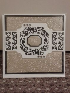 Card die cut using Tonic Studios Idyllics - Garland Fancy (embossing folder used back to front, to deboss the card).