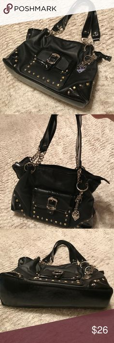 Kathy Van Zeeland Black Embellished Purse Kathy Van Zeeland Black Embellished Purse. Like New! Lovely embellishments over patent leather look. Cute purse fob and keychain attached for a bit of bling. Nice for a Gift🎁! Pristine and Gorgeous❤️ Kathy Van Zeeland Bags Shoulder Bags