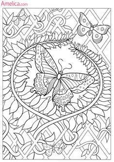 Flower Vine And Butterfly Coloring Page See the category to find more printable coloring sheets. Also, you could use the search box to find what you w. Insect Coloring Pages, Butterfly Coloring Page, Flower Coloring Pages, Animal Coloring Pages, Coloring Pages To Print, Mandala Coloring, Coloring Book Pages, Coloring Sheets, Coloring Pages For Kids