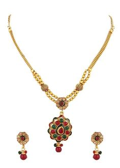 Bollywood Gold Plated Red Green Stone Indian Women & Girls Necklace Set #natural_gems15