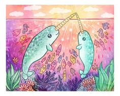 Narwhal Magic Narwhal Art Print Narwhal by MyZoetrope on Etsy