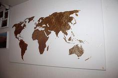 Original Goldene Weltkarte Gemälde goldenes von Handmde auf Etsy