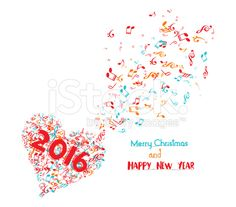 merry christmas and happy new year 2016 musical royalty-free stock vector art