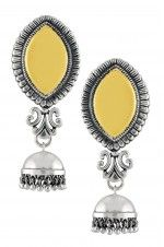 Tribebyamrapali-Silver Dual Tone Textured Marquise Abstract Jhumki Earrings