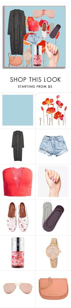 """""""The Rose Gold"""" by xlainyboo ❤ liked on Polyvore featuring WALL, French Connection, Sans Souci, TOMS, Aéropostale, Nails Inc., Kate Spade, Betsey Johnson and MICHAEL Michael Kors"""