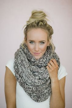 Infinity Scarf Knitted Chunky Mocha Ivory Loop Snood - Oversized Double Large Knitted Scarves