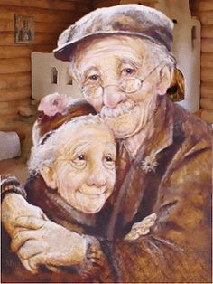 Grandparents / old couple DIY Diamond Painting Kit. Crystal Round Drill diamond painting with full pasting area. This is a timeless piece that looks good in any decor and makes the perfect addition to your Diamond Art Collection. Elderly Couples, Old Couples, Elderly Man, Elderly Person, Vieux Couples, Growing Old Together, Old Folks, Animation, Gif Animé