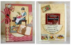 Pretty tea bag kitchen card by Kathy Clement using printable papers and ephemera from Crafty Secrets Kitchen Memories Kit and the lady is a stamp from the Vintage Kitchen Digital Stamp Set.  The sentiment is from the Card Sentiments Digi stamp set.