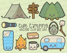 Premium Vector Clipart - Kawaii Camping Clipart - Kawaii Camping Clip art Set - High Quality Vectors - Instant Download - Kawaii Clipart