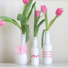 upcycle your empty condiment bottles into little vases