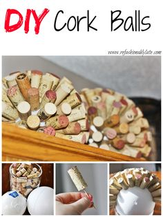DIY Cork Balls - Why not drink tons of wine so you can do fun projects like these!? - www.refashionablylate.com