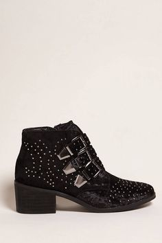 Product Name:Coolway Stud Velvet Ankle Boots, Category:Shoes, Price:68