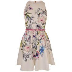 TED BAKER Samm Passion Flower Skater Dress ($195) ❤ liked on Polyvore featuring dresses, floral printed dress, circle skirts, skater skirt, floral skater skirt and skater skirt dress
