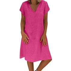 Lmx Women Summer Style Plus Size Ladies Dress T-Shirt Short Seelve Cotton  Casual Loose Soft Comfy Dresses 419974a26
