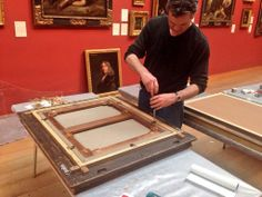 Dulwich Pic Gallery @Dulwich Picture Gallery Tom our frame conservator maintaining one of our Gainsborough portraits #MuseumWeek #ADayinTheLife