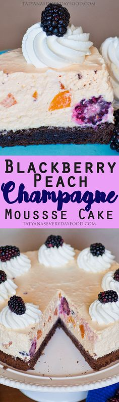 This airy and fruity mousse cake is made with loads of peaches, blackberries and champagne; set over a chocolate sponge cake that's filled with more blackberries and liqueur! Peach Mousse, Tatyana's Everyday Food, Champagne Cake, Chocolate Sponge Cake, Cake Platter, Wine Tasting Party, Cheesecake Recipes, Cheesecake Cake, Decadent Cakes