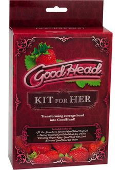 Goodhead Kit For Her Strawberry - Transforming average head into Good Head! The Good Head Kit for HER provides everything you need to increase your ladys pleasure in the oral department. Flavored Good Head lip balm will have your lips in prime oral giving condition. Delicious Strawberry flavored oral gel will have you down there for seconds and thirds. Put one of the oral sex tingling mints in your mouth to increase her sensitivity. Slip on the one size fits all disposable vibrating tongue…