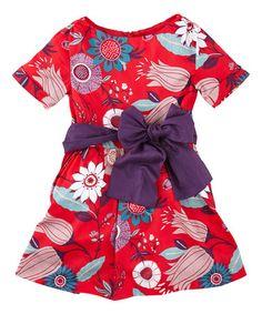 Poinsettia Floral Elfengarten Sash Dress - Toddler & Girls #tea *so cute