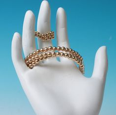 Gold Tone Wrap Bracelet Matching Stretch Ring Excellent Condition #Unbranded