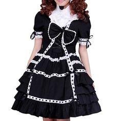Partiss Women's Ruffle Bow Vintage Gothic Victorian Lolita Dress,XS,Black